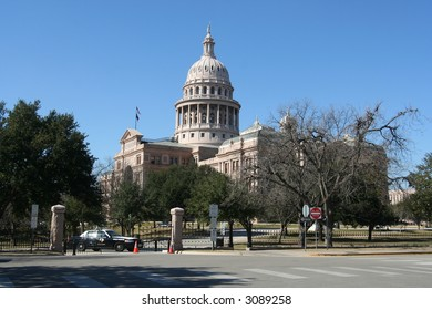 View of the Texas State Capitol thru the gates