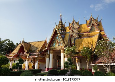 View of Thai Temple Wat Wang Wiwekaram at Sangkhlaburi district, Kanchanaburi province, Thailand