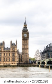View from the Thames of the Houses of Parliament with the famous Big Ben tower and the Westminster bridge in London, the capital of the United Kingdom
