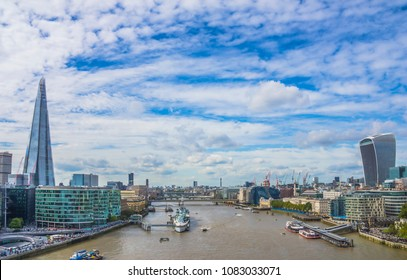 View of the Thames River in London, England