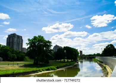 View of the Thames River, taken along a walking path. London, Ontario