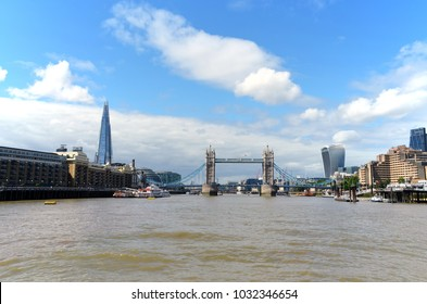 View from the Thames to the Tower Bridge, Shard, Butler's Wharf and the Walkie Talkie on a sunny day with a wonderful blue sky - London, Great Britain - 08/04/2015