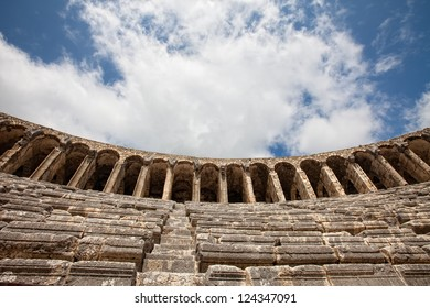 View up at theater in Aspendos Turkey