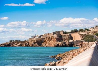 View of the Theater de la Mer, Sete, France. Copy space for text