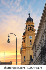 view to theatiner church in the old town of munich at odeonsplatz, sunset scenery. famous landmark in munich