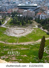 View of the Theatre of Dionysus on the slopes of the Acropolis in Athens