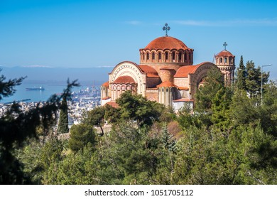 View of Thessaloniki and the Orthodox church of Saint Paul the Apostle. Greece.