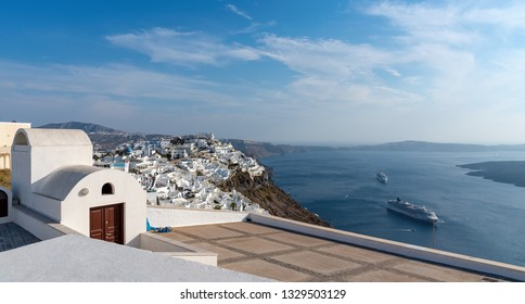 View of Thira village - Aegean sea - Santorini island - Greece
