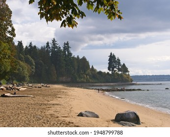 View of third beach at Stanley park, stock photo, Vancouver, British Columbia, Canada