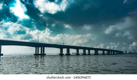 View of the Third Mainland Bridge from a boat in Lagos