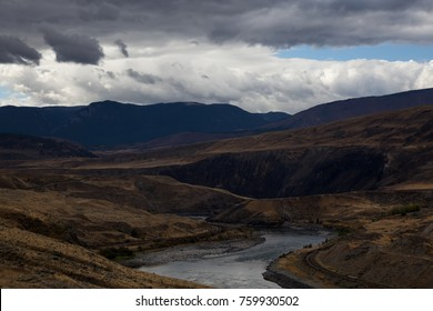 View of the Thompson River in the interior of British Columbia, Canada. Taken during a cloudy autumn day.