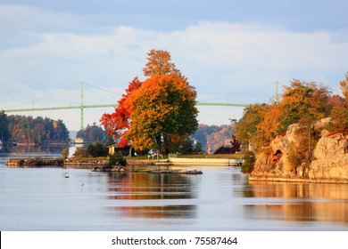 View of the Thousand Islands bridge from Alexandria Bay, New York.