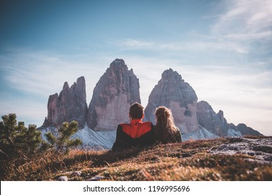View at the Three peaks of Lavaredo (Drei Zinnen or Tre Cime di Lavaredo) in the Sexten Dolomites National Park