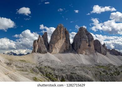 View at the Three peaks of Lavaredo (Drei Zinnen or Tre Cime di Lavaredo) in the Sexten Dolomites National Park