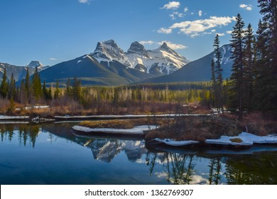 View of Three Sisters mountain, famous landmark in Canmore, Alberta, Canada