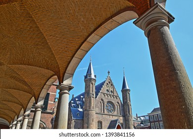 View through arcades of the Ridderzaal (Knight's Hall), which forms the center of the Binnenhof (13 century gothic castle) in The Hague, Netherlands