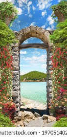 View through the arch to the blue sea with flowers.jpg