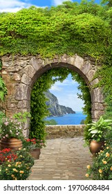 View through the arch with greenery to the blue sea