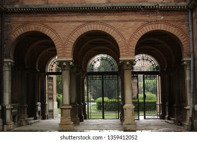 View through the arch to the park.