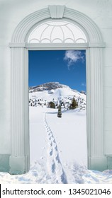 view through arched door, footpath at wintry landscape rofan mountains, austria
