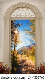 view through arched door, hiking trail in autumnal sunny mountain landscape swiss alps