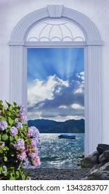 view through arched door, lake view garda lake with blooming hydrangea bush