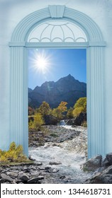 view through arched door, rissbach creek at karwendel valley in autumn