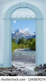 view through arched door, stillach river and allgau mountains, germany