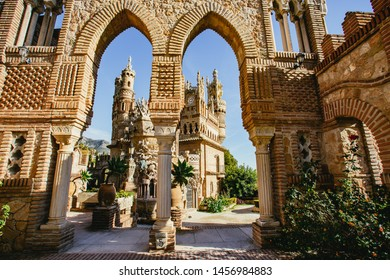 View through arches of Castillo de Colomares Benalmadena, Malaga, Spain a monument dedicated to the life of Christopher Columbus