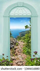 view through blue arched door, hiking trail above garda lake