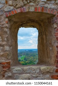 View through castle window of bailey