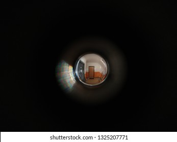 View through door peephole. Slovakia