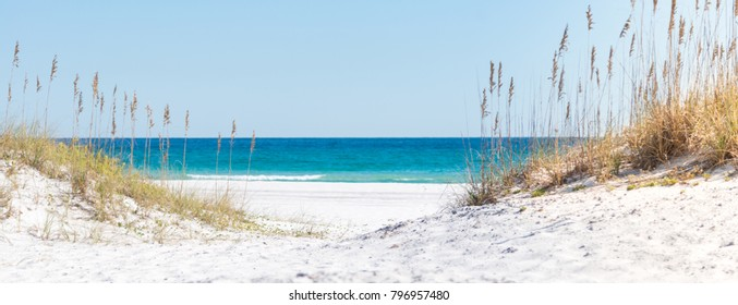 View through the dunes to the blue ocean and oats of Pensacola Beach, sea - Island landscape, Mexico, horizon, Florida, paradise, Whitehaven, Fidschi, Mauritius, Maldives, Bora Bora, Hawaii