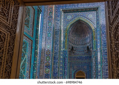 View through the entrance, to the marvelous tiled exterior facade.