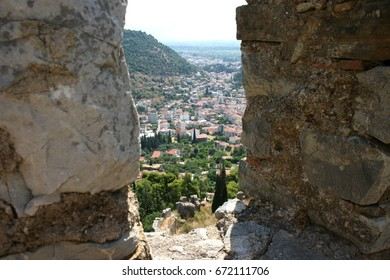 view through a fighters battle position in a medieval fortress