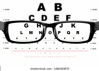 View through glasses on the background of the board for eye examination