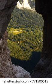 View through the natural window Prisojnikovo okno, Triglav National Park, Slovenia - Shutterstock ID 771500515