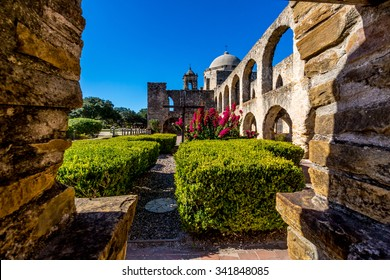 View Through the Old Water Well at the Historic Old West Spanish Mission San Jose, Founded in 1720, San Antonio, Texas.
