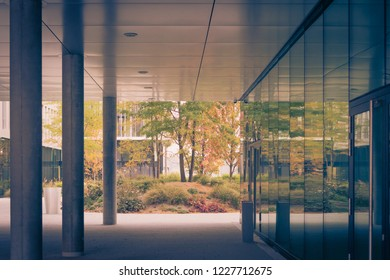 A view through the passage to the atrium of a modern house. In the background autumnal colorful japanese garden.
