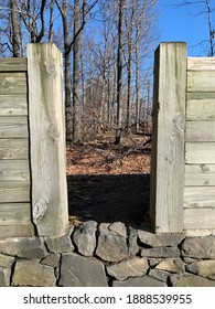 View through the ramparts in Fort Lee Historic Park