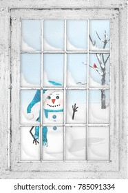 View through rustic window of a snow scene with happy snowman waving and in background a tree with snow and a red cardinal.