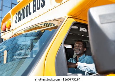 view through side window at mature african american bus driver