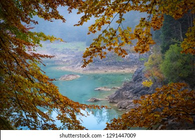 View through trees with colorful leaves to lake Laghi di Fusine on a foggy morning in autumn near Tarvisio in Italy, Europe