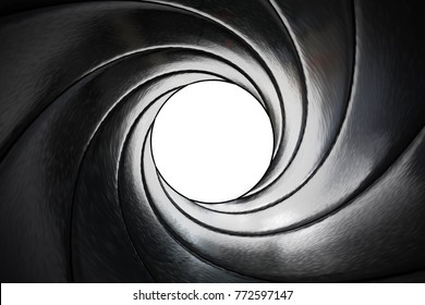 View through twisted gun barrel. 3D rendered illustration.
