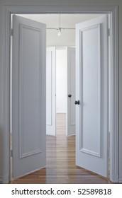 View through two double doorways with the doors open