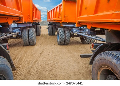 view through two rows of tippers