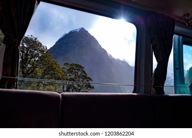 The view through the window of a campervan