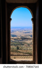 View through the window from the castle of Loarre, Huesca, Spain.