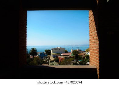 View through a window of the house La Sebastiana from Pablo Neruda in Valparaiso, Chile