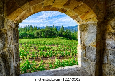 View Through the Window to Vineyards of Napa Valley Wine Country